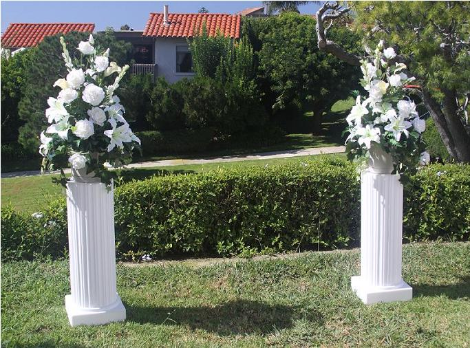 Wedding Columns With Flowers Picture above shows the 2 white columns on