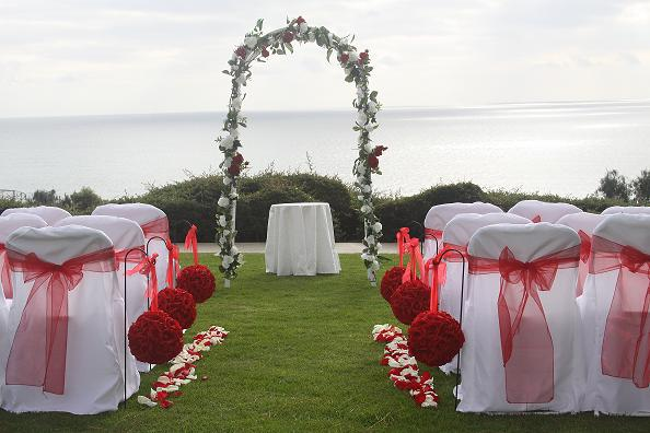 Wedding arch decorations pines park dana point red white wedding junglespirit Images